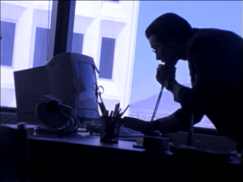 BLUE businessman talking on telephone + typing on computer in office