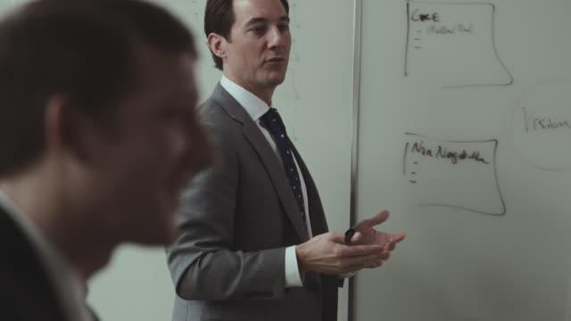vídeos de stock e filmes b-roll de businessman talks at whiteboard in a conference meeting. - vestuário de trabalho formal