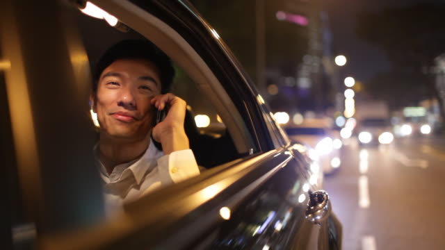 A businessman talks on a cell phone while delighting in the view outside his car window.