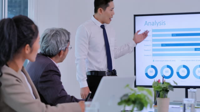 businessman team leader presenting project strategy showing ideas on digital interactive whiteboard in office presentation diverse colleagues enjoying training seminar.business,people,success,leadership,teamwork,high-tech meetings and technology concept - interactive whiteboard stock videos & royalty-free footage