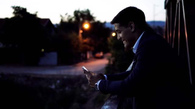 Businessman texting messages