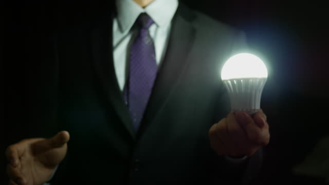 Businessman thinking with light bulb