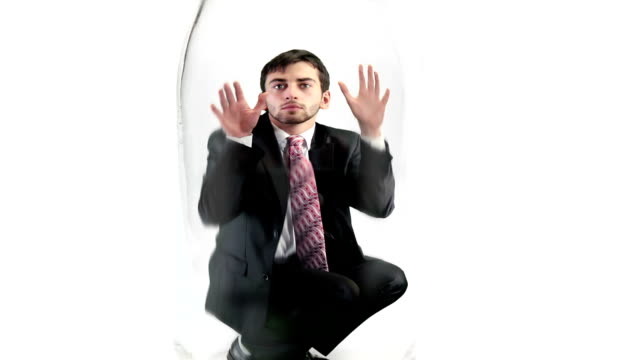 businessman trapped in jar - trapped stock videos & royalty-free footage