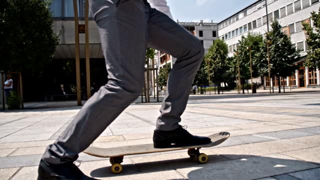 SLO MO Businessman using a skateboard