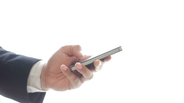 Businessman using and touching smartphone for searching information from network on white background , business concept