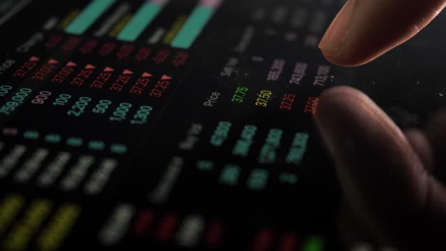Geschäftsmann mit Digital-Tablette Analyse Börse