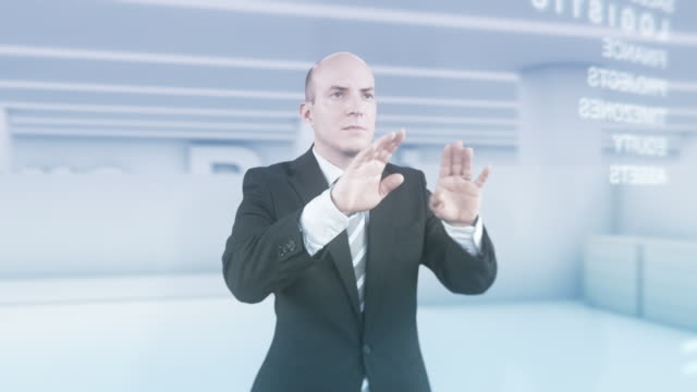 HD: Businessman Using Futuristic Visual Screen