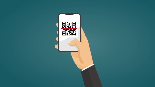 Businessman using hand holding smartphone scan QR code