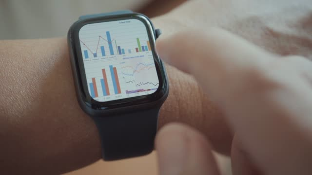businessman using smart watch,close-up - graph stock videos & royalty-free footage
