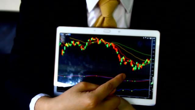 zakenman met behulp van de tablet met financiële grafiek