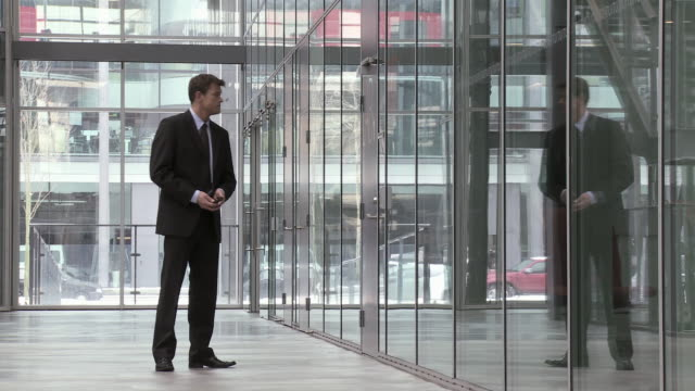 ms businessman waiting and talking on mobile phone outside glass office door, copenhagen, denmark - one mature man only stock videos & royalty-free footage