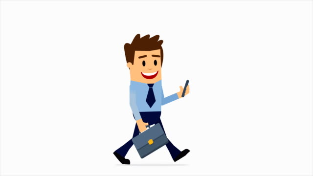 businessman walking 2d character, mobile phone messaging, all business updates get sent straight to his phone, 4k animation alpha channel - male likeness stock videos & royalty-free footage