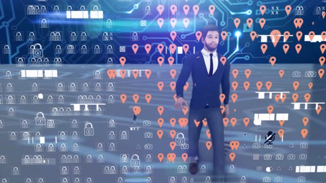businessman walking futuristic concept with digital tech overlay - line graph stock videos & royalty-free footage