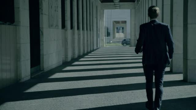 ビジネスマンで歩く columnade の街 - 玄関ホール点の映像素材/bロール