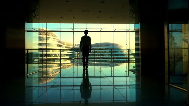 businessman walking in office building,looking out of window - looking at view stock videos & royalty-free footage