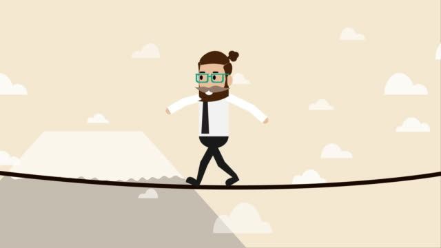 businessman walking on the wire over the land  (business concept cartoon) - risk stock videos & royalty-free footage