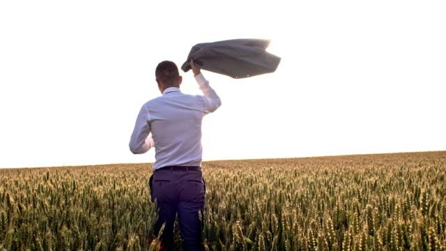 小麦のフィールドを介して歩く WS ビジネスマン