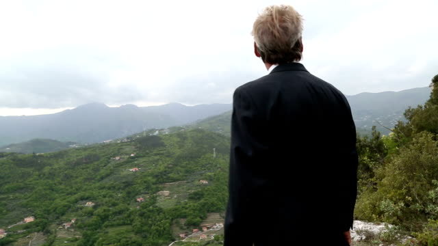 Businessman walks onto rocky ledge, above valley