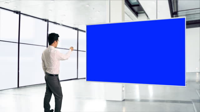 Businessman with big chroma screen