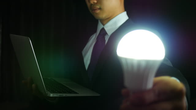 Businessman with labtop and light blub