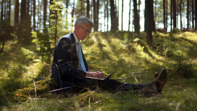 Businessman with laptop in the woods