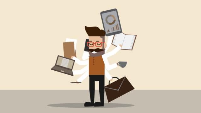 vídeos de stock, filmes e b-roll de empresário com multi-tasking multi-tasking (business concept cartoon) - revista em quadrinhos produção artística