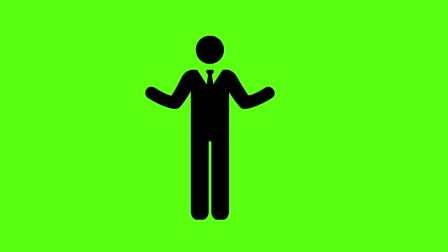 vidéos et rushes de homme d'affaires avec la main levant sur le fond vert d'écran - touche de couleur