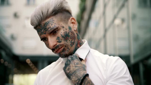 businessman with tattoos - fashionable stock videos & royalty-free footage