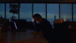 Businessman work untill morning