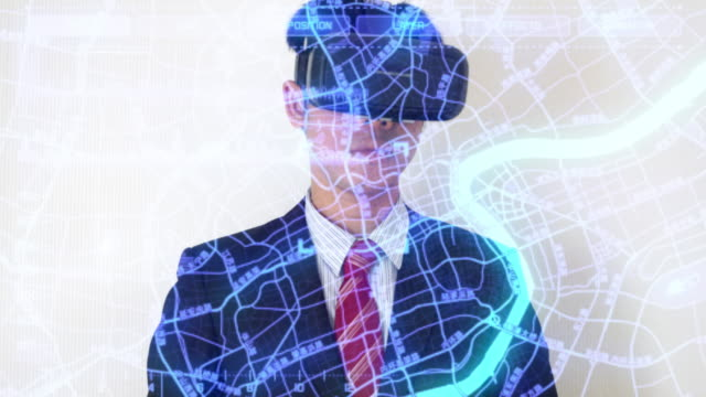 Businessman working on internet searching data with virtual reality headset