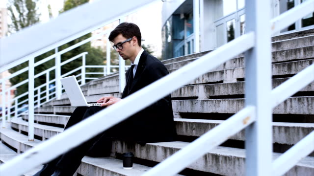 Businessman working on steps