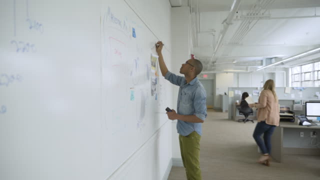 Businessman writing on whiteboard in startup office