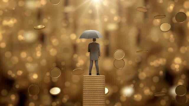businessman3d stehend mit schirm unter den geld-regen. - lotterie stock-videos und b-roll-filmmaterial