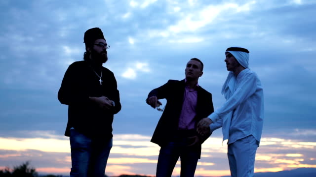 Businessmans and arab partner looking for the land