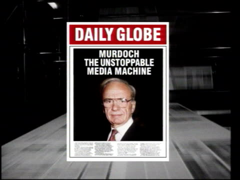 government reform of rules on media ownership itn newspaper along on press as graphic mock daily globe newspaper with picture of murdoch on front... - politics stock videos & royalty-free footage