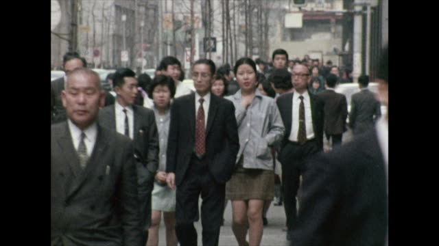 businessmen and women walking to work in tokyo; 1972 - 1972 stock videos & royalty-free footage