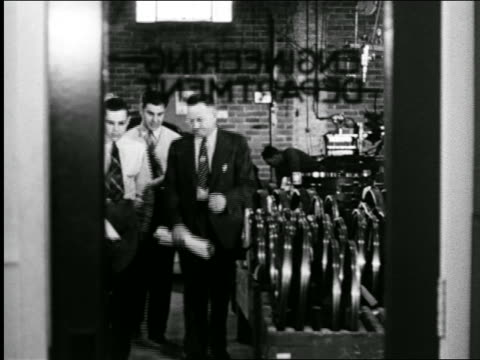 """B/W 1944 3 businessmen exiting room thru """"Engineering Dept"""" door / industrial"""