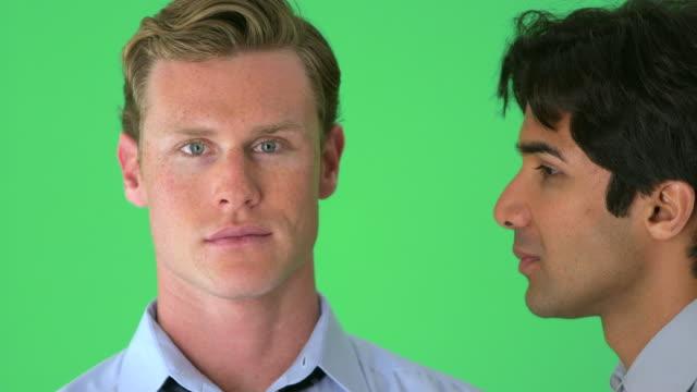 Businessmen face portraits on greenscreen