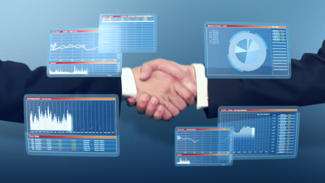 Businessmen handshake with 3D financial graphs
