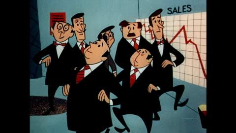 vídeos y material grabado en eventos de stock de businessmen hold emergency meeting to discuss declining sales - examen