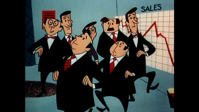 businessmen hold emergency meeting to discuss declining sales - cartoon stock videos & royalty-free footage