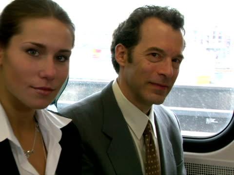 stockvideo's en b-roll-footage met cu, businesspeople in train, portrait, chappaqua, new york state, usa - compleet pak