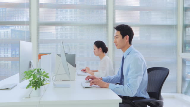 vídeos de stock e filmes b-roll de ms businesspeople working in office - camisa e gravata