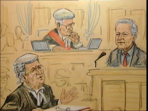 neil hamilton/mohammed al fayed libel trial; graphic court artist's drawining of hamilton in court - 文書による名誉棄損点の映像素材/bロール