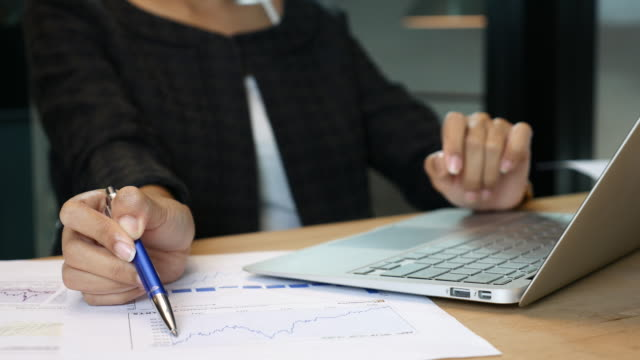 Businesswoman analyzing Financial Data with Laptop, Financial