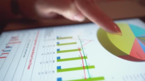 vidéos et rushes de femme d'affaires, analyse des informations de données de marché sur une tablette numérique, close-up - marketing