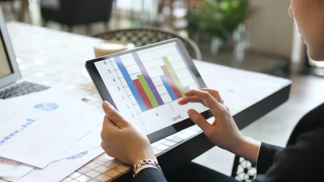vídeos y material grabado en eventos de stock de empresaria analizando datos de mercado en tableta digital - diagrama de flujo