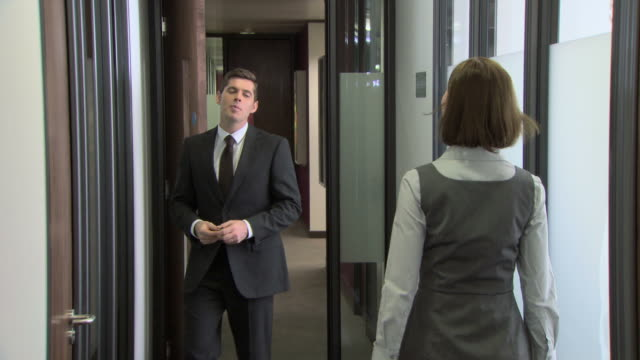 Businesswoman and businessman meeting in corridor