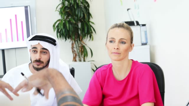 businesswoman chairing a corporate meeting with an arab businessman - corporate business stock videos & royalty-free footage