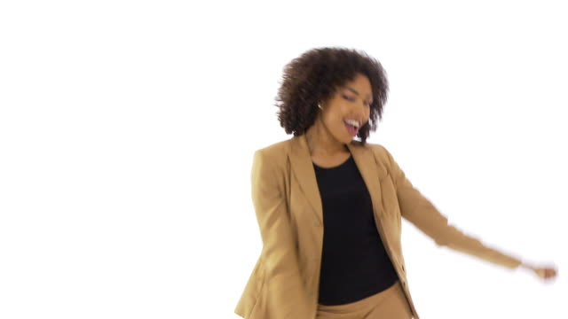 Businesswoman dancing on white background